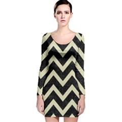 CHV9 BK-MRBL BG-LIN Long Sleeve Velvet Bodycon Dress
