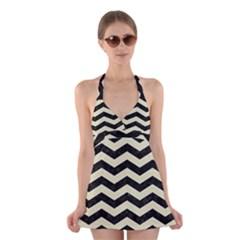 CHV3 BK-MRBL BG-LIN Halter Swimsuit Dress