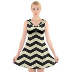 CHV3 BK-MRBL BG-LIN V-Neck Sleeveless Skater Dress