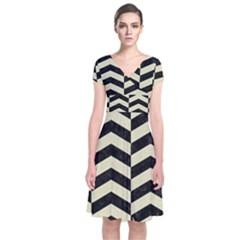CHV2 BK-MRBL BG-LIN Short Sleeve Front Wrap Dress