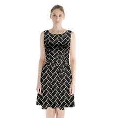 BRK2 BK-MRBL BG-LIN Sleeveless Chiffon Waist Tie Dress