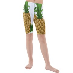 Pineapples Tropical Fruits Foods Kids  Mid Length Swim Shorts