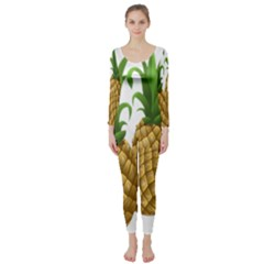 Pineapples Tropical Fruits Foods Long Sleeve Catsuit