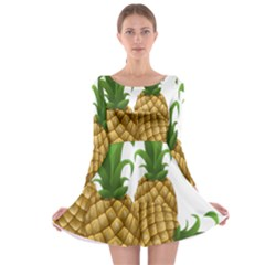 Pineapples Tropical Fruits Foods Long Sleeve Skater Dress
