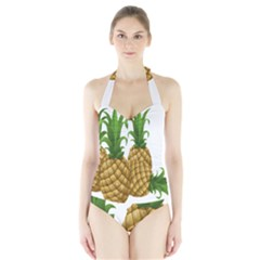 Pineapples Tropical Fruits Foods Halter Swimsuit