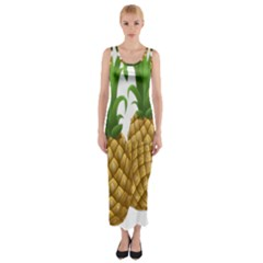 Pineapples Tropical Fruits Foods Fitted Maxi Dress