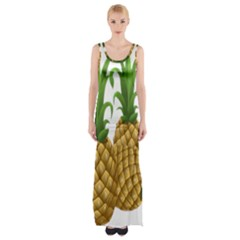 Pineapples Tropical Fruits Foods Maxi Thigh Split Dress
