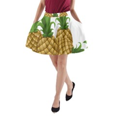Pineapples Tropical Fruits Foods A-Line Pocket Skirt