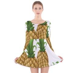 Pineapples Tropical Fruits Foods Long Sleeve Velvet Skater Dress