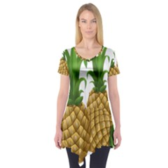 Pineapples Tropical Fruits Foods Short Sleeve Tunic