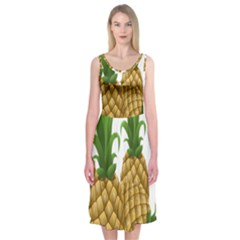 Pineapples Tropical Fruits Foods Midi Sleeveless Dress