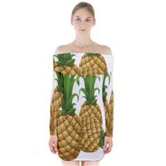Pineapples Tropical Fruits Foods Long Sleeve Off Shoulder Dress