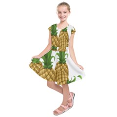 Pineapples Tropical Fruits Foods Kids  Short Sleeve Dress