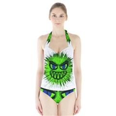 Monster Green Evil Common Halter Swimsuit