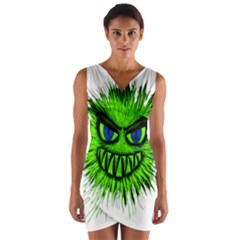 Monster Green Evil Common Wrap Front Bodycon Dress