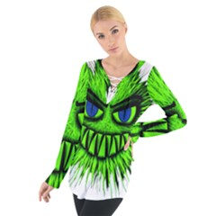 Monster Green Evil Common Women s Tie Up Tee