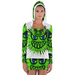 Monster Green Evil Common Women s Long Sleeve Hooded T Shirt
