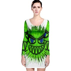 Monster Green Evil Common Long Sleeve Velvet Bodycon Dress