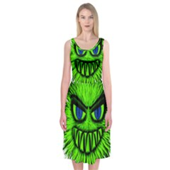 Monster Green Evil Common Midi Sleeveless Dress