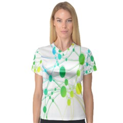 Network Connection Structure Knot Women s V-Neck Sport Mesh Tee