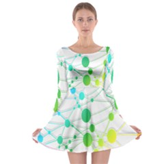 Network Connection Structure Knot Long Sleeve Skater Dress