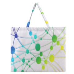 Network Connection Structure Knot Zipper Large Tote Bag