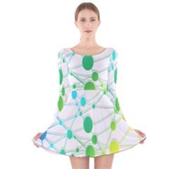 Network Connection Structure Knot Long Sleeve Velvet Skater Dress