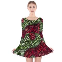 Tao Duality Binary Opposites Long Sleeve Velvet Skater Dress