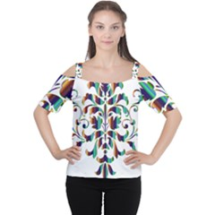 Damask Decorative Ornamental Women s Cutout Shoulder Tee