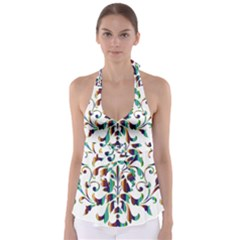 Damask Decorative Ornamental Babydoll Tankini Top
