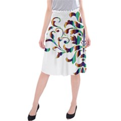 Damask Decorative Ornamental Midi Beach Skirt