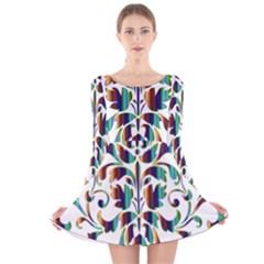 Damask Decorative Ornamental Long Sleeve Velvet Skater Dress