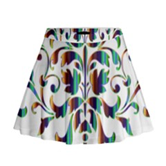 Damask Decorative Ornamental Mini Flare Skirt