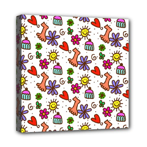 Doodle Pattern Mini Canvas 8  x 8