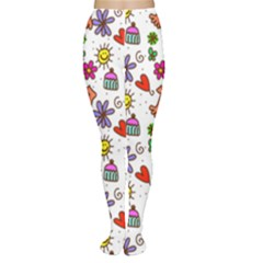 Doodle Pattern Women s Tights