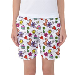 Doodle Pattern Women s Basketball Shorts