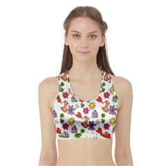 Doodle Pattern Sports Bra with Border