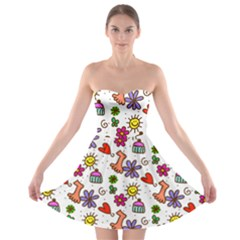 Doodle Pattern Strapless Bra Top Dress