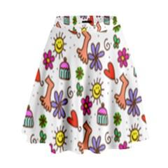 Doodle Pattern High Waist Skirt