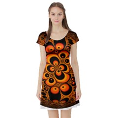 Fractals Ball About Abstract Short Sleeve Skater Dress