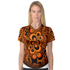 Fractals Ball About Abstract Women s V-Neck Sport Mesh Tee