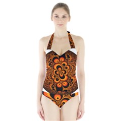 Fractals Ball About Abstract Halter Swimsuit