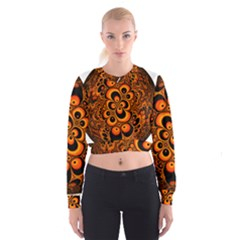 Fractals Ball About Abstract Women s Cropped Sweatshirt
