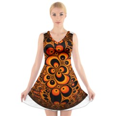 Fractals Ball About Abstract V Neck Sleeveless Skater Dress
