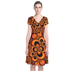 Fractals Ball About Abstract Short Sleeve Front Wrap Dress
