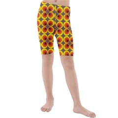 Seventies Hippie Psychedelic Circle Kids  Mid Length Swim Shorts