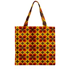 Seventies Hippie Psychedelic Circle Zipper Grocery Tote Bag