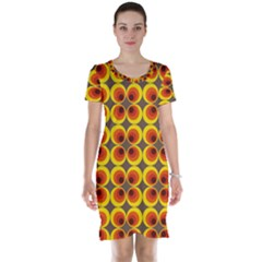 Seventies Hippie Psychedelic Circle Short Sleeve Nightdress