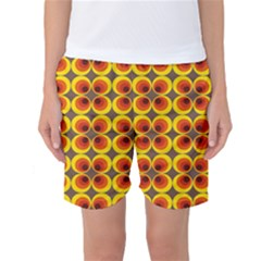 Seventies Hippie Psychedelic Circle Women s Basketball Shorts