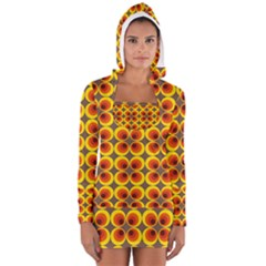 Seventies Hippie Psychedelic Circle Women s Long Sleeve Hooded T-shirt